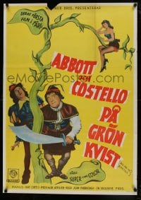 8p024 JACK & THE BEANSTALK Swedish 1953 Abbott & Costello, their first picture in color!
