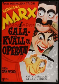 8p025 NIGHT AT THE OPERA Swedish R1972 completely different art of Groucho, Chico & Harpo Marx