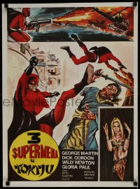 8p313 TRE SUPERMEN A TOKIO Yugoslavian 19x26 1968 Bitto Albertini, cool art of Asian superheroes!