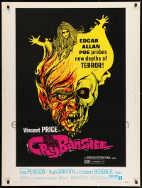 8r016 CRY OF THE BANSHEE 30x40 1970 Edgar Allan Poe probes new depths of terror, cool artwork!