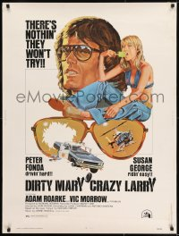 8r018 DIRTY MARY CRAZY LARRY 30x40 1974 art of Peter Fonda & Susan George sucking on popsicle!