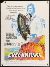 8r021 EVEL KNIEVEL 30x40 1971 George Hamilton is THE daredevil, great art of motorcycle jump!