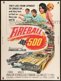 8r022 FIREBALL 500 30x40 1966 Frankie Avalon & sexy Annette Funicello, cool stock car racing art!