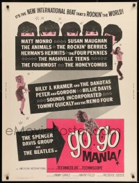8r029 GO GO MANIA 30x40 1965 Pop Gear, rock & roll, new international beat, and The Beatles too...