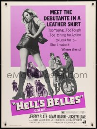 8r032 HELL'S BELLES 30x40 1969 sexy too young too tough biker babe in leather skirt!