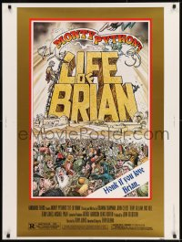 8r043 LIFE OF BRIAN 30x40 1979 Monty Python, great wacky artwork of Chapman running from mob!