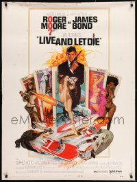 8r046 LIVE & LET DIE West Hemi 30x40 1973 McGinnis art of Moore as Bond & sexy girls on tarot cards!