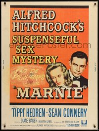 8r053 MARNIE 30x40 1964 Sean Connery & Tippi Hedren in Hitchcock's suspenseful sex mystery!