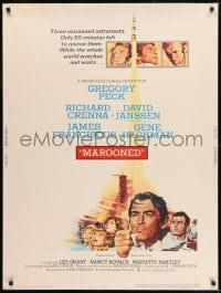 8r054 MAROONED 30x40 1969 astronauts Gregory Peck and Gene Hackman, cool outer space images!