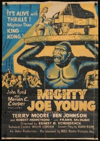 8r056 MIGHTY JOE YOUNG 30x40 R1953 first Ray Harryhausen, art of ape rescuing girl from lions!