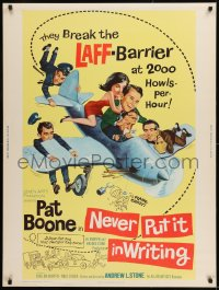 8r063 NEVER PUT IT IN WRITING 30x40 1964 wacky art of Pat Boone & airplane!