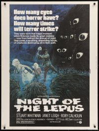8r064 NIGHT OF THE LEPUS 30x40 1972 cool monster art, how many eyes does horror have!