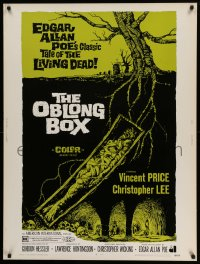 8r068 OBLONG BOX 30x40 1969 Vincent Price, Edgar Allan Poe's tale of living dead, cool horror art!