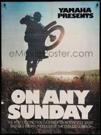 8r069 ON ANY SUNDAY 30x40 1971 Steve McQueen, cool jumping motorcycle image!
