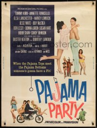 8r071 PAJAMA PARTY 30x40 1964 Annette Funicello in sexy lingerie, Tommy Kirk, Buster Keaton!