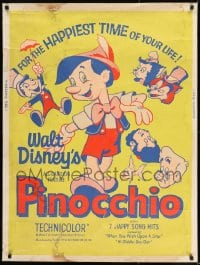 8r073 PINOCCHIO 30x40 R1962 Disney classic fantasy cartoon about a wooden boy who wants to be real!