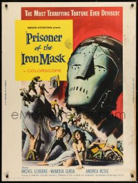 8r075 PRISONER OF THE IRON MASK 30x40 1962 cool art of the most terrifying torture ever devised!