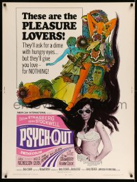 8r076 PSYCH-OUT 30x40 1968 AIP, psychedelic drugs, sexy pleasure lover Susan Strasberg, Dick Clark!