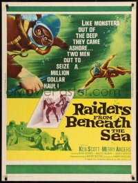 8r077 RAIDERS FROM BENEATH THE SEA 30x40 1965 scuba divers rise from sea to commit daring crimes!