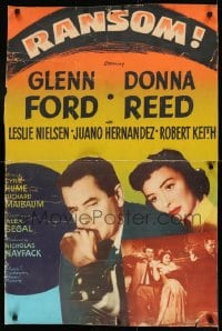 8r078 RANSOM 30x40 1956 great image of Glenn Ford & Donna Reed waiting for call from kidnapper!