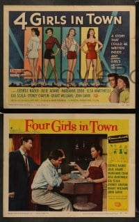 8w040 4 GIRLS IN TOWN 8 LCs 1956 sexy Julie Adams, Marianne Cook, Elsa Martinelli & Gia Scala!