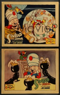 8w001 SINBAD THE SAILOR complete set of 4 LCs 1935 great Ub Iwerks art, ComiColor cartoon, rare!