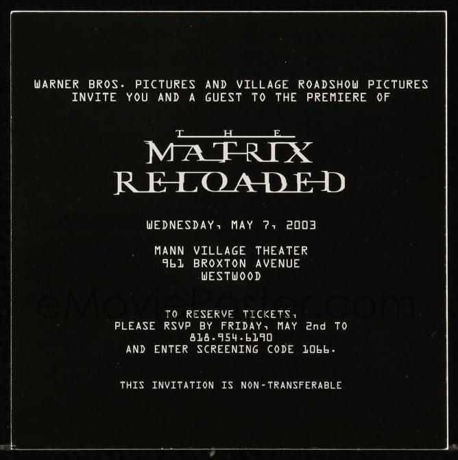Emovieposter Com 8x006 Matrix Reloaded 6x6 Movie Screening