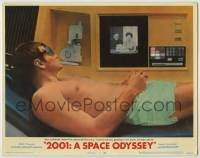 8z039 2001: A SPACE ODYSSEY LC #1 1968 Gary Lockwood receives birthday greetings from space phone!