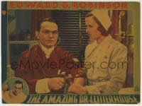 8z002 AMAZING DR. CLITTERHOUSE LC 1938 Gale Page watches Edward G. Robinson taking blood pressure!