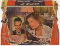 8z023 MY WEAKNESS LC 1933 c/u of pretty Lilian Harvey mooning over Lew Ayres' picture in her room!