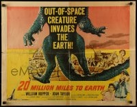 9c002 20 MILLION MILES TO EARTH style A 1/2sh 1957 out-of-space creature invades the Earth, monster art!
