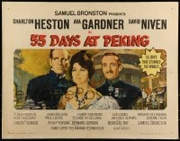 9c012 55 DAYS AT PEKING 1/2sh 1963 art of Charlton Heston, Ava Gardner & David Niven by Terpning!