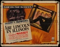 9c014 ABE LINCOLN IN ILLINOIS style A 1/2sh 1940 two images of Raymond Massey as Abraham, ultra rare!