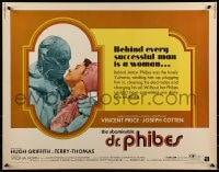 9c015 ABOMINABLE DR. PHIBES 1/2sh 1971 great image of hideous Vincent Price & Virginia North!