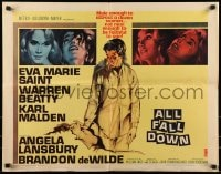 9c022 ALL FALL DOWN 1/2sh 1962 Warren Beatty, Eva Marie Saint, Karl Malden, John Frankenheimer