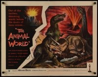 9c027 ANIMAL WORLD 1/2sh 1956 great artwork of prehistoric dinosaurs & erupting volcano!