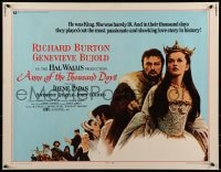 9c028 ANNE OF THE THOUSAND DAYS 1/2sh 1970 c/u of King Richard Burton & Genevieve Bujold!