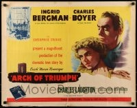 9c030 ARCH OF TRIUMPH style B 1/2sh 1947 Ingrid Bergman & Boyer, novel by Erich Maria Remarque!