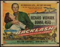 9c037 BACKLASH style A 1/2sh 1956 Richard Widmark knew Donna Reed's lips but not her name!