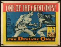 9c126 DEFIANT ONES style B 1/2sh 1958 art of escaped cons Tony Curtis & Sidney Poitier chained together!