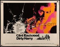 9c134 DIRTY HARRY 1/2sh 1971 art of Clint Eastwood pointing his .44 magnum, Don Siegel classic!