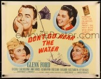 9c141 DON'T GO NEAR THE WATER style A 1/2sh 1957 Glenn Ford, art of 3 sexy girls, two in uniform!
