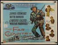 9c160 FAR COUNTRY style A 1/2sh 1955 cool art of James Stewart with rifle, directed by Anthony Mann!