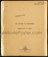 9d001 AFFAIR TO REMEMBER shooting final script Feb 8, 1957, screenplay by Leo McCarey & Delmer Daves!