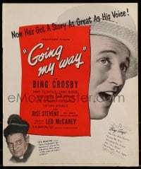 9f022 GOING MY WAY pressbook 1944 Bing Crosby, Rise Stevens, Barry Fitzgerald, Leo McCarey classic!