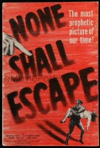 9f038 NONE SHALL ESCAPE pressbook 1944 trial of the Nazi war criminals BEFORE the war had ended!