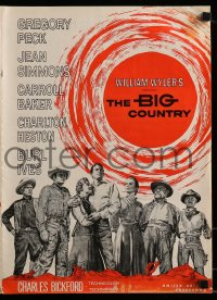 9f007 BIG COUNTRY pressbook 1958 Gregory Peck, Charlton Heston, Jean Simmons, William Wyler classic