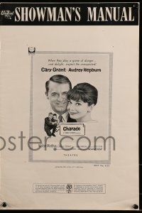 9f013 CHARADE pressbook 1963 art of tough Cary Grant & sexy Audrey Hepburn, expect the unexpected!