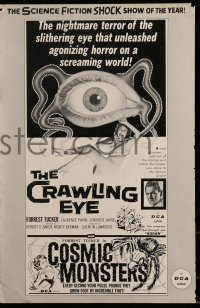 9f014 CRAWLING EYE/COSMIC MONSTERS pressbook 1958 the science fiction shock show of the year!