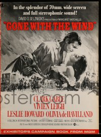 9f023 GONE WITH THE WIND pressbook R1967 art of Clark Gable & Vivien Leigh over burning Atlanta!